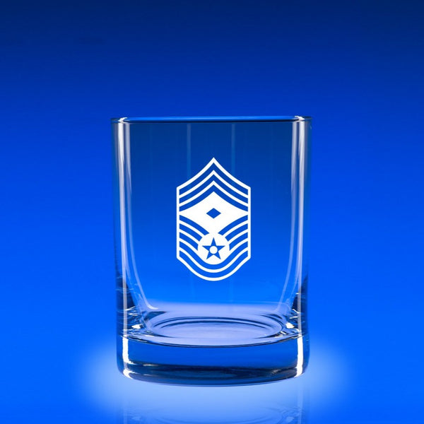 USAF Chief Master Sergeant with Distinction- Deluxe Rocks Glass Set