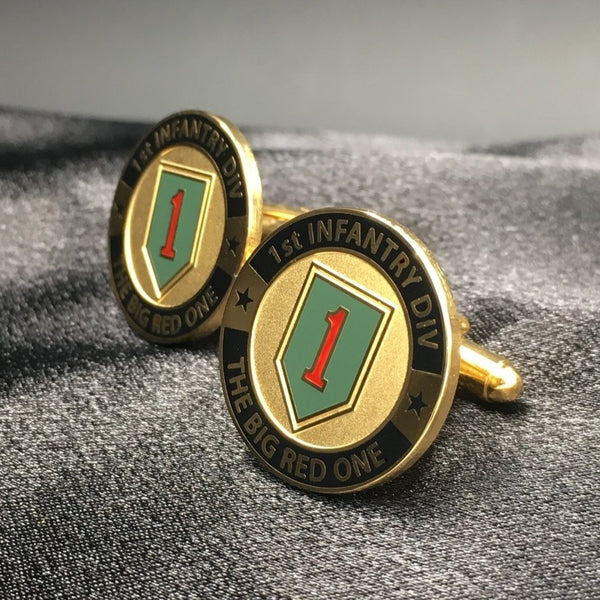 1st Infantry Division Duotone Gold Cufflinks