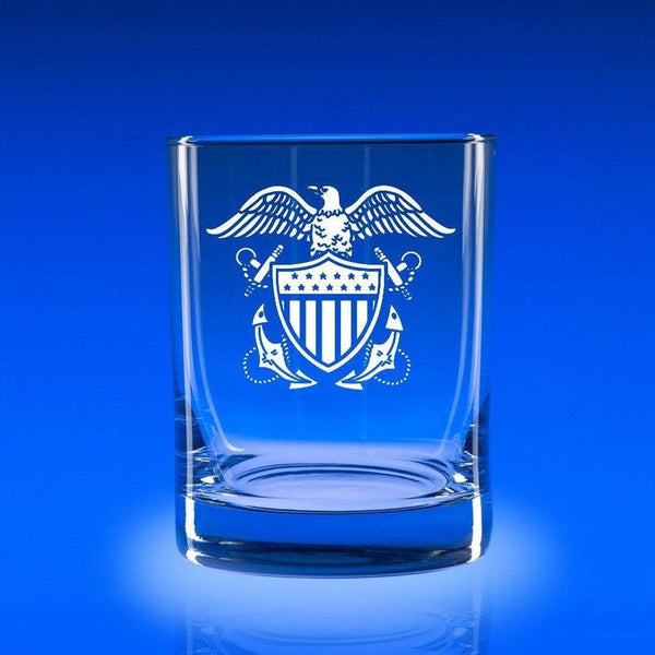Naval Officer's Crest- Deluxe Rocks Glass Set