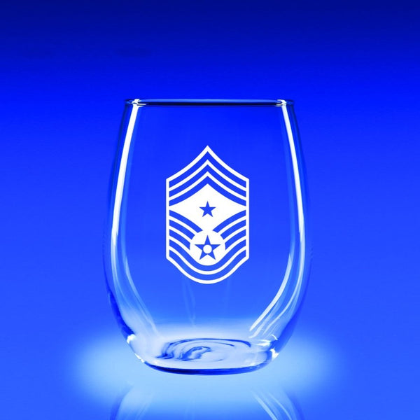 USAF Command Chief Master Sergeant - 21 oz. Stemless Wine Glass Set