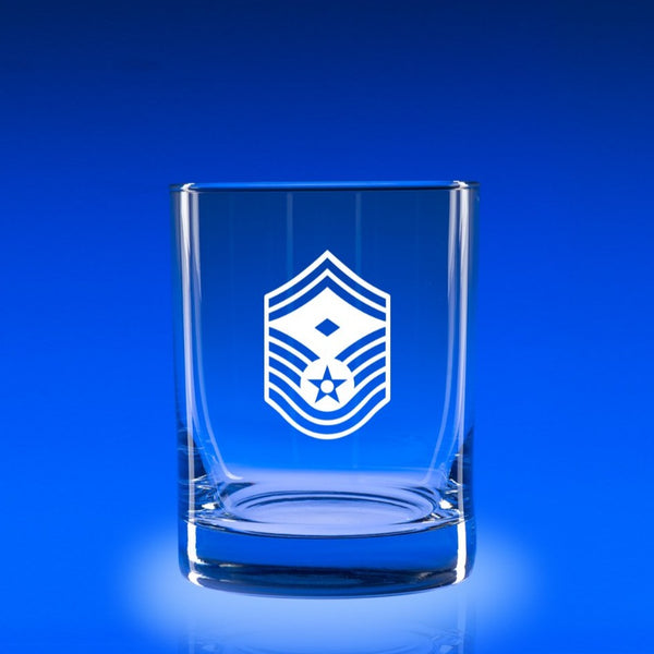 USAF Senior Master Sergeant with Distinction- Deluxe Rocks Glass Set