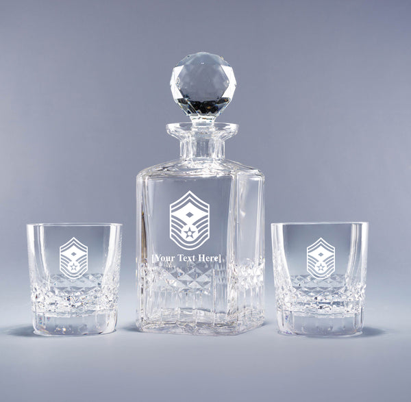 USAF Senior Master Sergeant with Distinction (with free customization) - Genuine Crystal Decanter