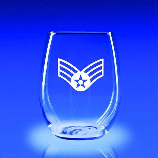 USAF Senior Airman - 21 oz. Stemless Wine Glass Set
