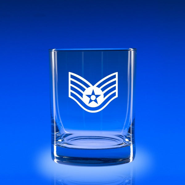 USAF Staff Sergeant- Deluxe Rocks Glass Set