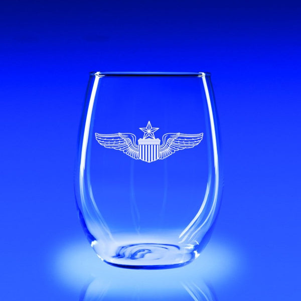 USAF Master Pilot Wings - 21 oz. Stemless Wine Glass Set