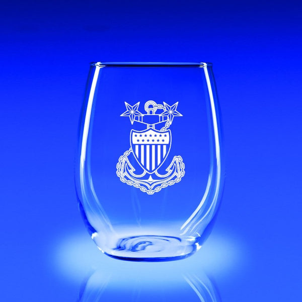 USCG Master Chief Petty Officer - 21 oz. Stemless Wine Glass Set