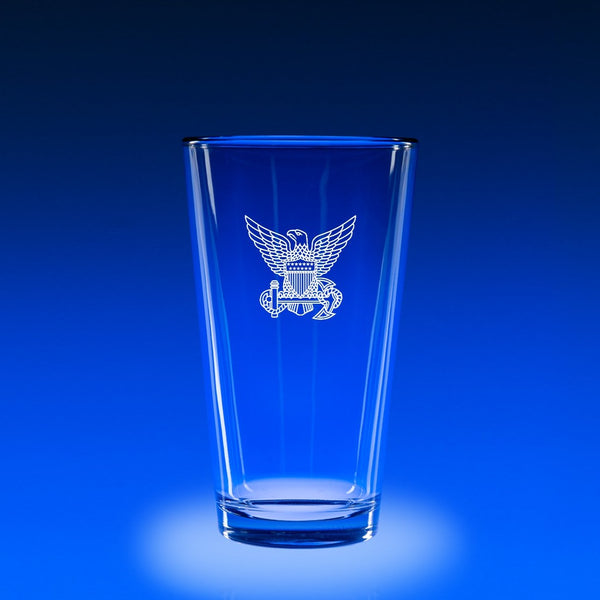 USCG Officer Hat Badge - 16 oz. Micro-Brew Glass Set