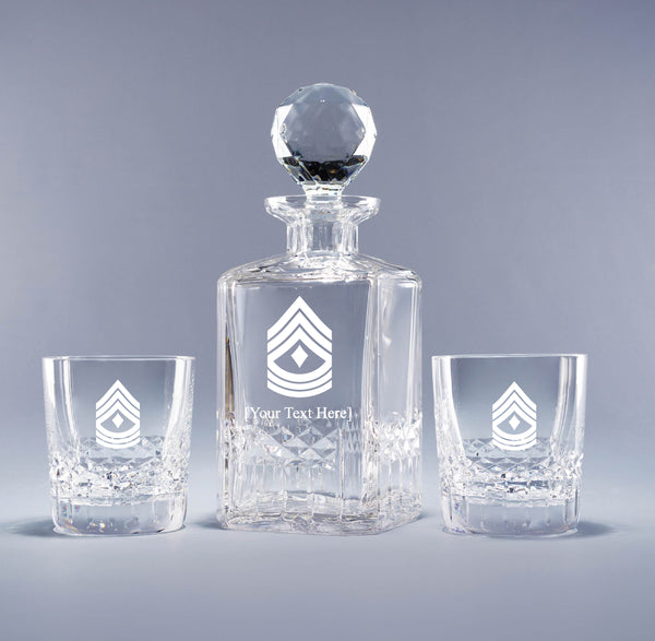 Genuine Crystal Decanter - USMC 1st Sergeant (with free customization)