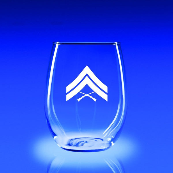 USMC Corporal - 21 oz. Stemless Wine Glass Set