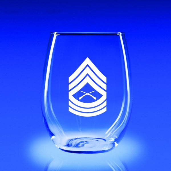 USMC Master Sergeant - 21 oz. Stemless Wine Glass Set