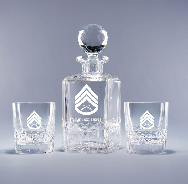 Genuine Crystal Decanter - USMC Staff Sergeant (with free customization)