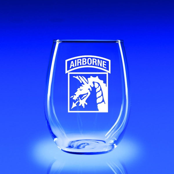 XVIII Airborne Corps - 21 oz. Stemless Wine Glass Set