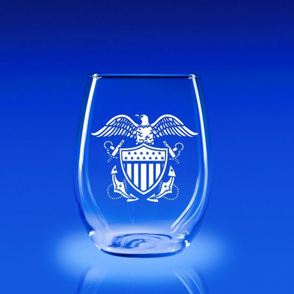 Naval Officer's Crest - 21 oz. Stemless Wine Glass Set