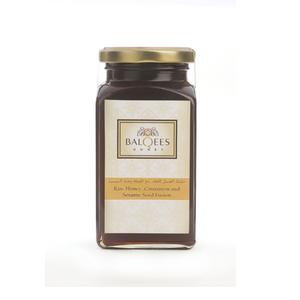Balqees Honey Raw Honey, Cinnamon and Sesame Seed Fusion