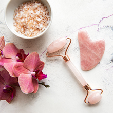 Load image into Gallery viewer, Salt and Crystal Rose Quartz Face Roller & Gua Sha Set