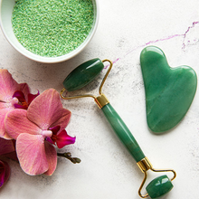 Load image into Gallery viewer, Salt and Crystal Jade Face Roller & Gua Sha Set