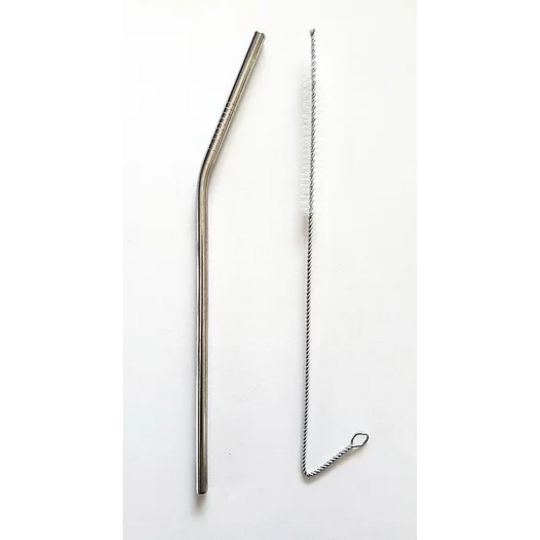 Stainless Steel Bent Straw With a Brush