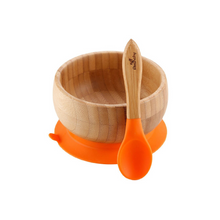 Load image into Gallery viewer, Avanchy Baby Bamboo Stay Put Suction BOWL + Spoon