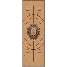 Load image into Gallery viewer, Cork Yoga Mat With Alignment Design - Sun