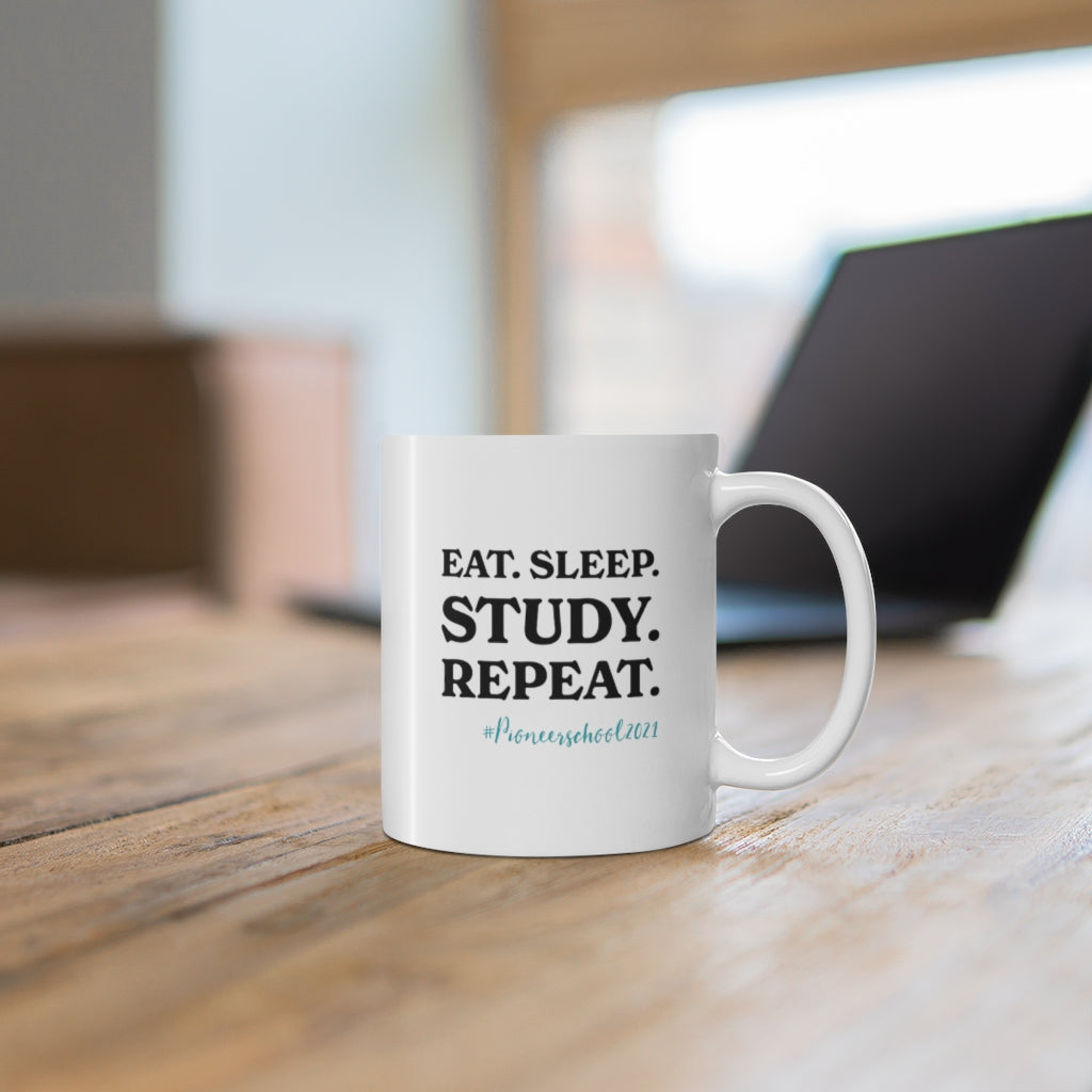 Eat Sleep Study Repeat Mug - cottonwoodbloomco