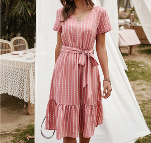 """Pretty in Pink"" Striped A-Line Midi Dress - cottonwoodbloomco"