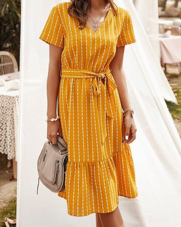 """You Are My Sunshine"" Striped A-Line Midi Dress - cottonwoodbloomco"