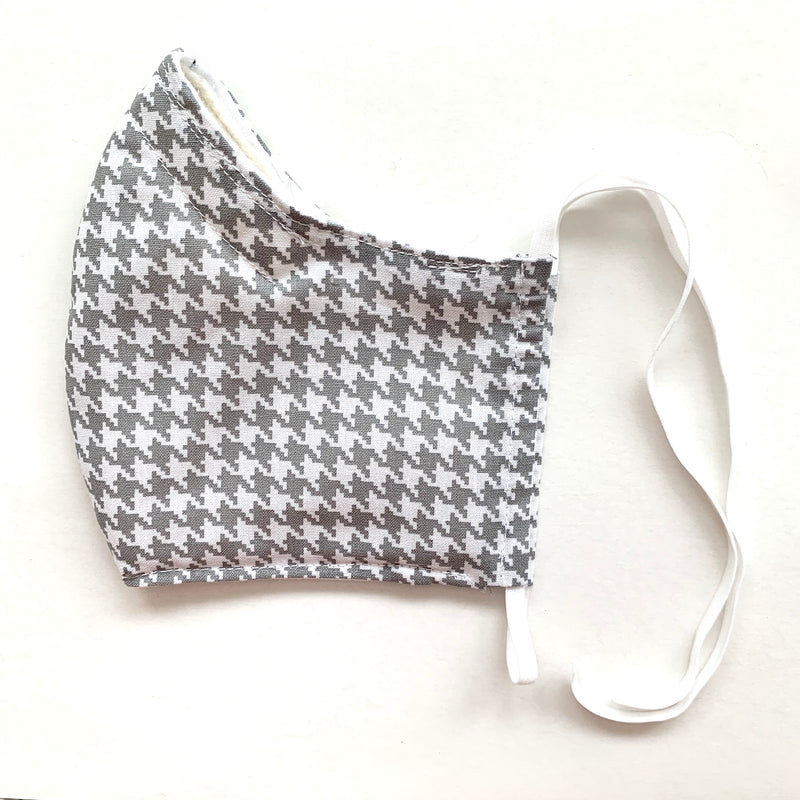 •Gray Houndstooth• Handmade Fabric Mask With Adjustable Strap - cottonwoodbloomco