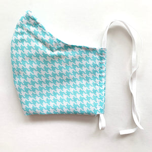 Summer Lovin' •Teal Houndstooth•  Handmade Fabric Mask With Adjustable Strap - cottonwoodbloomco