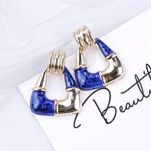 Gold & Blue Geometric Statement Earrings - cottonwoodbloomco