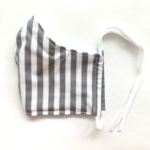 •Gray Stripe•  Handmade Fabric Mask With Adjustable Strap - cottonwoodbloomco