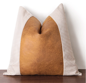 Light Brown Faux Leather & Stripes Pillow Cover - cottonwoodbloomco