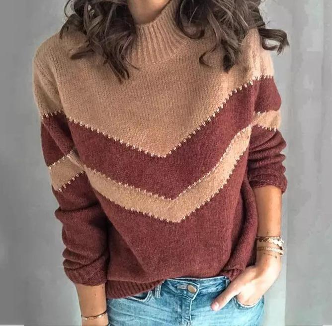 Red & Khaki Sweater (Small) - cottonwoodbloomco
