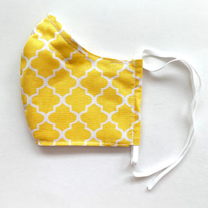 Summer Lovin' •Yellow Quatrefoil•  Handmade Fabric Mask With Adjustable Strap - cottonwoodbloomco