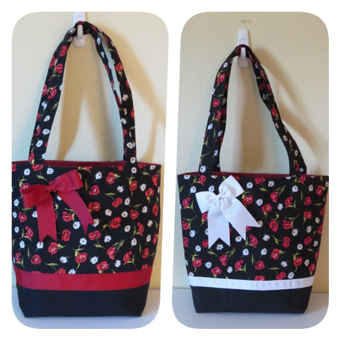 Tote Bag in Pansy and Daisy Print