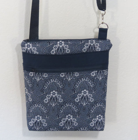 Navy & White Floral Crossbody Bag