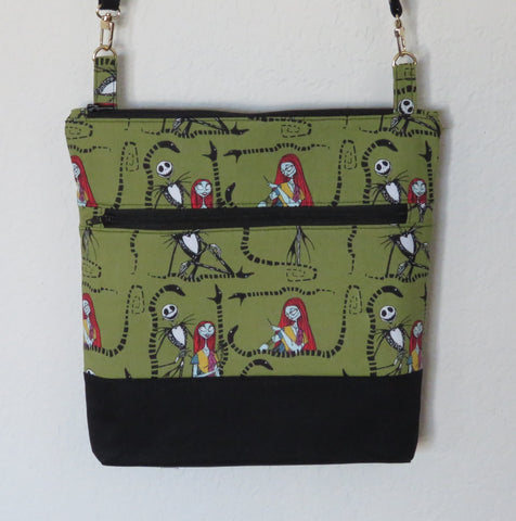 Crossbody Purse with Adjustable Strap - Nightmare Before Christmas in Green