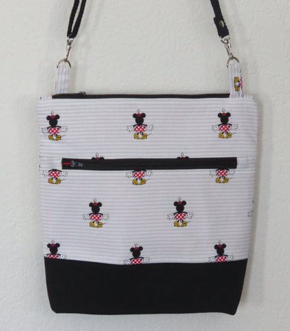 Disney Minnie on Stripes Crossbody Purse with Adjustable Strap