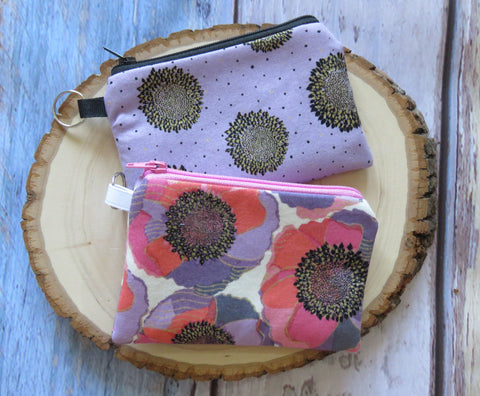 Floral Poppy Keyring Coin Purse