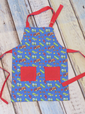 Children's Apron - Trucks and Cars Print
