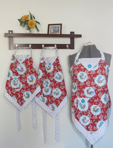 Women and Children's Aprons - Roosters on Red Print for adults and kids