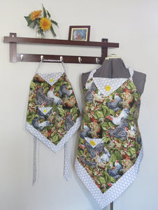 Women and Children's Aprons - Roosters in the Yard Print for adults and kids