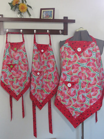 Women and Children's Aprons - Watermelon Print for adults and kids