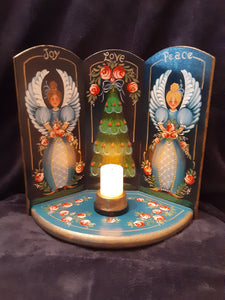 Blue Angels & Christmas Tree Wood Triptic with Votive