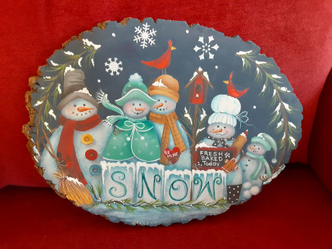 Holiday Snowpeople Plaque