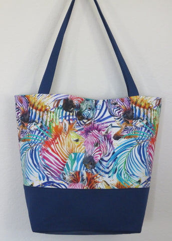 Colorful Zebra Animal Print Tote Bag Purse