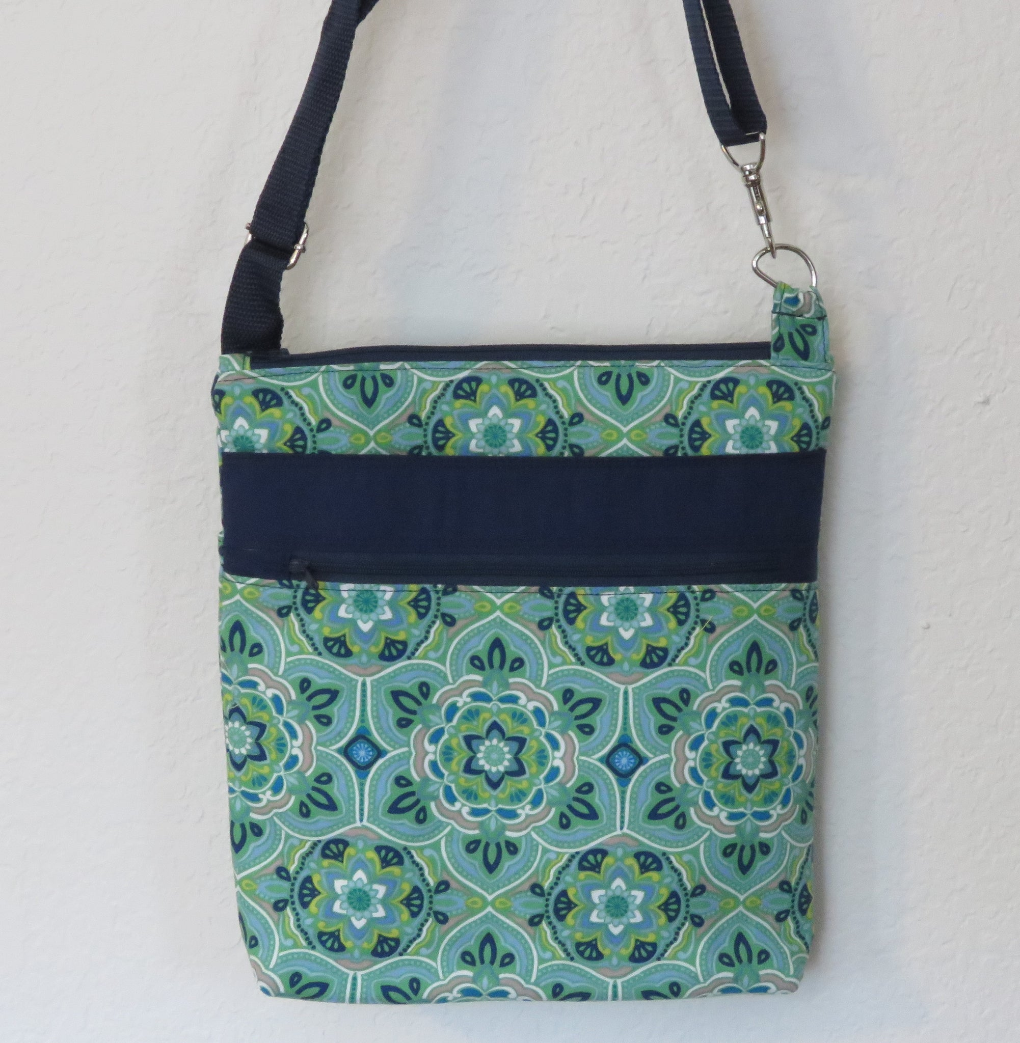 Crossbody Purse with Adjustable Strap - Green Floral/Geo