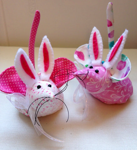 Assorted Pink Printed Hand Sewn Mouse with Bunny Ears