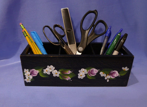 Hand Painted Black Wood Storage Container