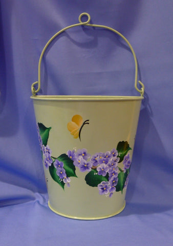 Hand Painted Light Green Metal Container