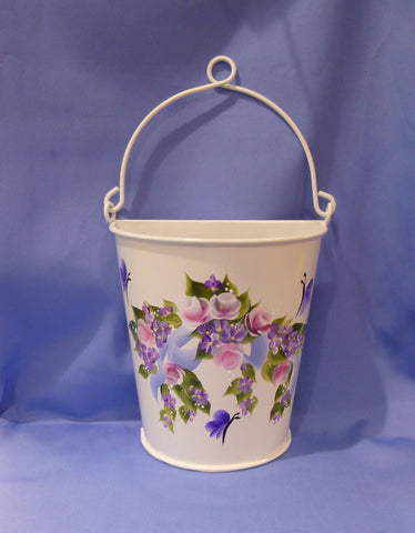 Hand Painted White Metal Container